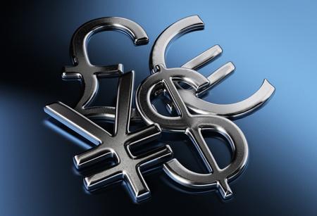 銀ドル、円や人民元、ポンド、ユーロ記号青い背景上 写真素材