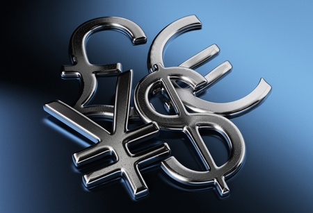 currency symbols: silver dollar, yen or yuan, pound, euro signs over a blue background