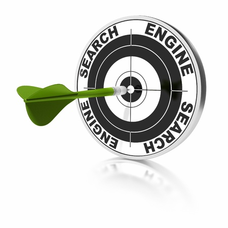 keywords: search engine target and green dart over a white background