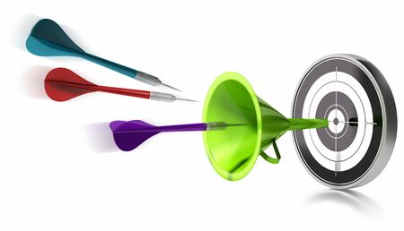 three darts hitting the center of a target helped by a green funnel, image is over a white background Stock Photo - 8653528