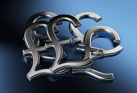 gb pound: pound sign over a blue background Stock Photo