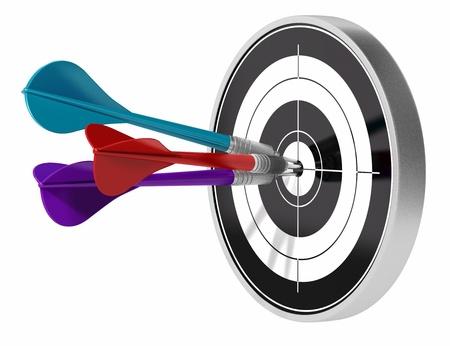 eficiencia: �rbol de dardos golpear el centro de un destino de que los dardos se hacen de diferentes colores, imagen est� aislada sobre fondo blanco