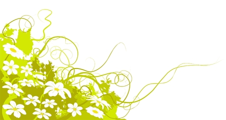 green land: spring flowers and green land