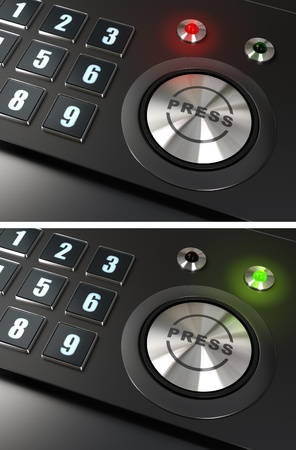 press button and numbers with a red and green led over a black background Stock Photo - 9152065