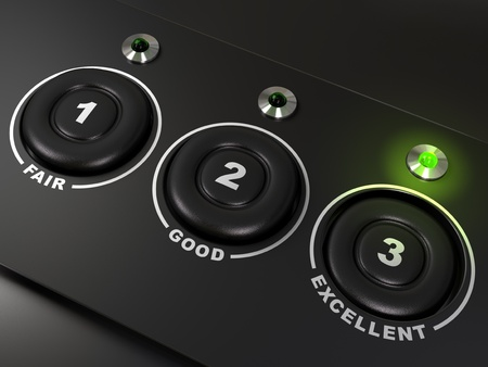 excellent background: quality questionnaire over a black background with the words fair, good, and excellent, there is three buttons. The led on the right is light up. There is numbers on the buttons Stock Photo