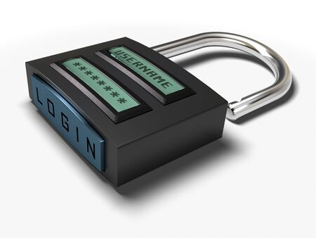 login button: username and password plus login button onto a padlock for secured access, image is isolated over white background Stock Photo