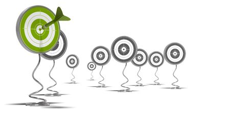 targeted: targets mouted on pedestal, there is a green target on the foreground and grey ones at the background