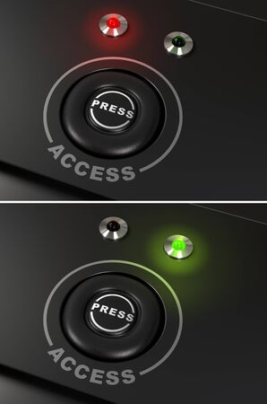 Press button and access label with red and green led for authorized and denied access Stock Photo - 9152029