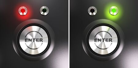 Enter button and access label with red and green led for authorized and denied access Stock Photo - 9152033