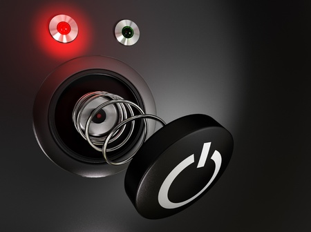 broken power button and red led over a black background Stock Photo - 9152032