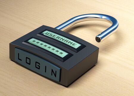 contrase�a: candado digital con un nombre de usuario y contrase�a adem�s de inicio de sesi�n bot�n sobre un fondo de madera Foto de archivo