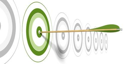 metas: flecha verde, golpeando el centro de destino verde con objetivos gris en el fondo