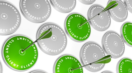 преобразование: green targets with client marking, green arrows hitting the center and grey targets with prospect marking
