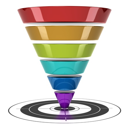 funnel: conversion funnel over a white background with a target Stock Photo