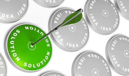 Ideas targets and one green solution target with an arrow hitting the center Stock Photo - 9368450