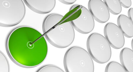strategic position: Green arrow hitting the center of a green  target with grey targets at the background Stock Photo