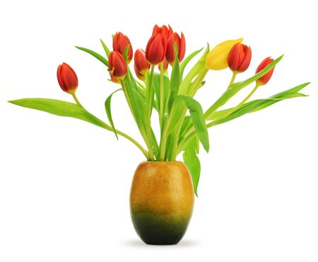 Tulips in a vase over a white background with red tulips and one yellow, with leaves Stock Photo - 9368448