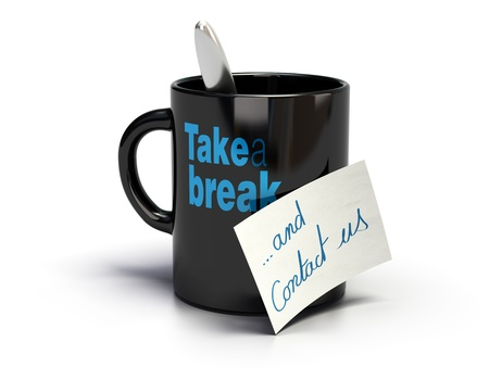 contact us: Mug where its written take a break and note with handwritten contact us text