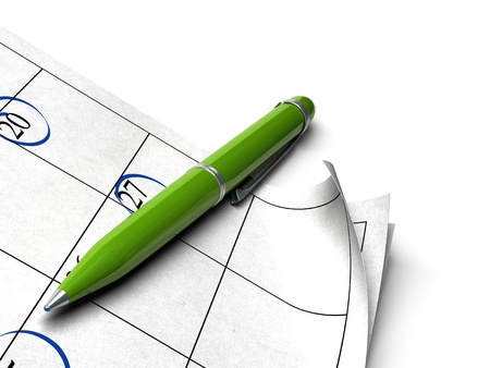 agenda over a white background with a green ball point pen image for an agnle of page photo