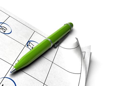 organizer page: programa sobre un fondo blanco con una imagen de pluma de punto de bola verde para un agnle de p�gina