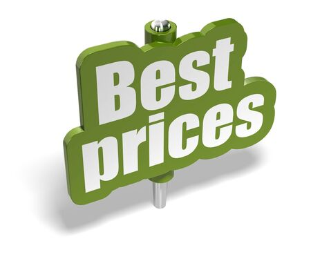 fixer: best prices green marker over a white background with shadow - banner is fixer on a metal pin Stock Photo
