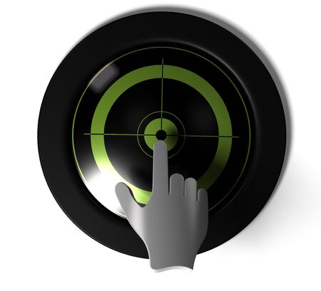 round button with green target inside with a 3D hand pressing the center  photo