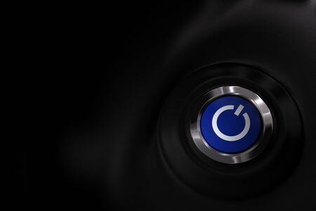 close up of a blue start and stop computer button over a black background with copy space on the left Stock Photo - 9793422