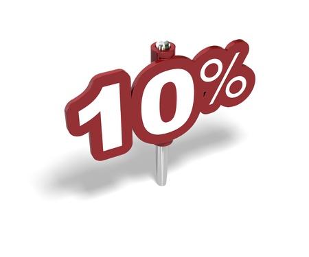 rebates: signo de diez por ciento rojo sobre un fondo blanco