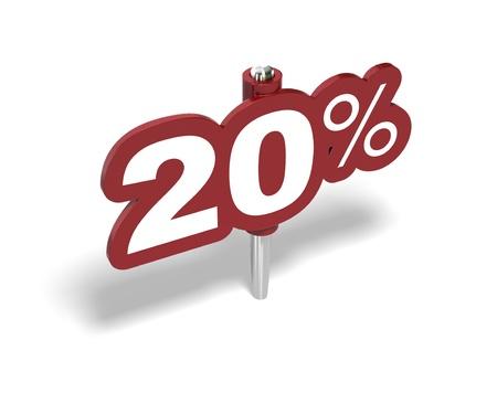 rebates: firmar el 20% de rojo sobre un fondo blanco Foto de archivo