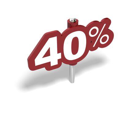 rebates: signo de porcentaje de cuarenta rojo sobre un fondo blanco