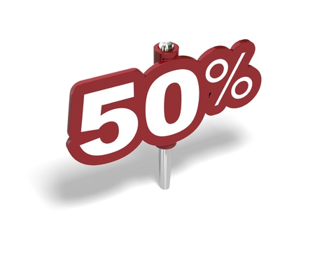 rebate: fifty percent red sign over a white background