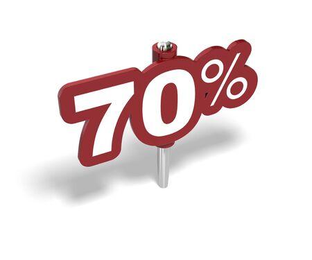 rebates: signo de setenta por ciento rojo sobre un fondo blanco Foto de archivo