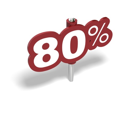 eighty percent red sign over a white background photo