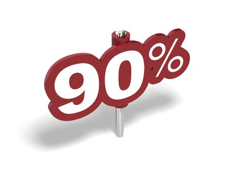 rebates: signo de noventa por ciento de rojo sobre un fondo blanco Foto de archivo