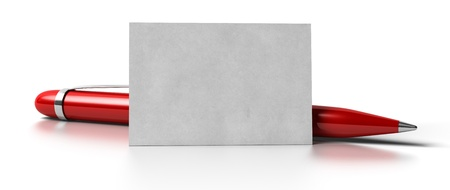 ball pen: blank business card over white background with a red ball point pen