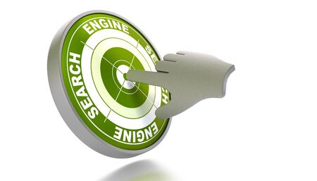 where: green target where its written search engine, clicked by a 3d hand, image over white background Stock Photo