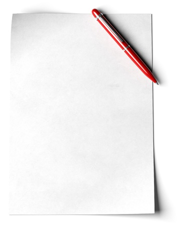 pen and paper: blank page with a red ball point pen in the angle of the page over white background