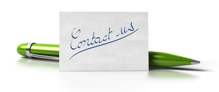 email contact: word contact us handwritten on a business card with a green pen at the background image is over a white background
