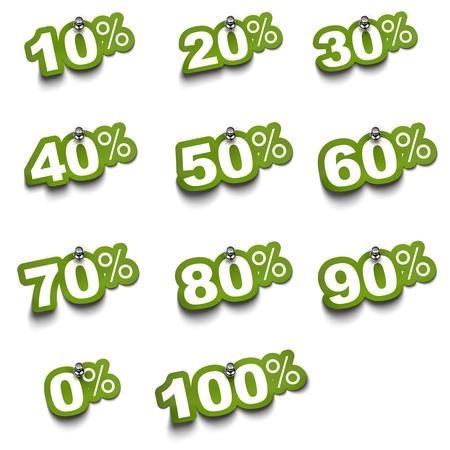 rebate: Complete set of percent green stickers over a white background fixed with push pin