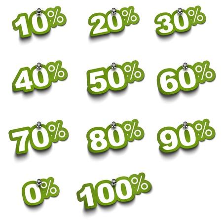numero diez: Conjunto completo de porcentaje pegatinas verdes sobre fondo blanco fijada con pin push