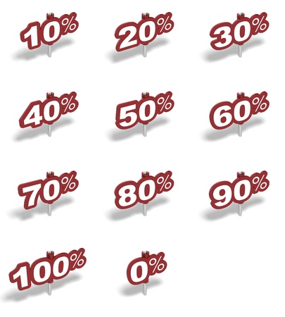 Complete set of percent red sign over a white background photo