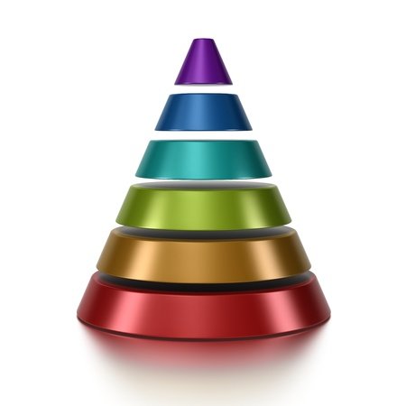 3D cone pyramid chart vue from front, 6 levels photo
