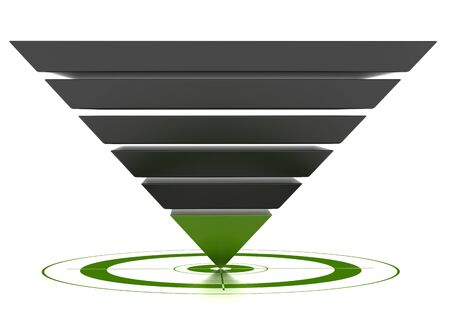 objective: 3D marketing conversion funnel used for rate analysis, isolated over a white background.