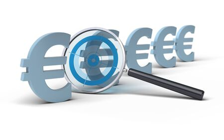 financial controller: magifying glass with a focus inside in front of euro symbol, image is over a white background, blue tones Stock Photo