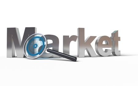 marketing research: Market word with a magnifying glass at the front with a focus inside, image is over a white background