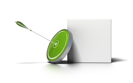 green target and arrow near a white box for writing a message image is over a white background photo
