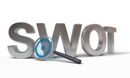 analysis: SWOT word with a magnifying glass at the front with a focus inside, image is over a white background