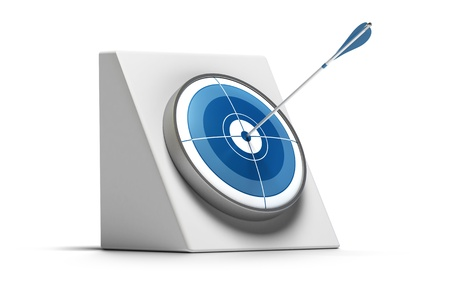 fortune concept: target and arrow hit the center of the circle - the dart is blue and the image is over a white background Stock Photo
