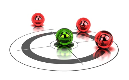 competitive: one green ball hitting the center of a target and tree red balls around it - image is over a white background