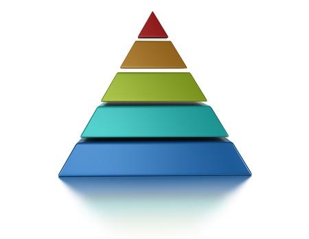 hi�rarchie: gesneden pyramic, 5 niveaus geïsoleerd op een witte achtergrond Stockfoto